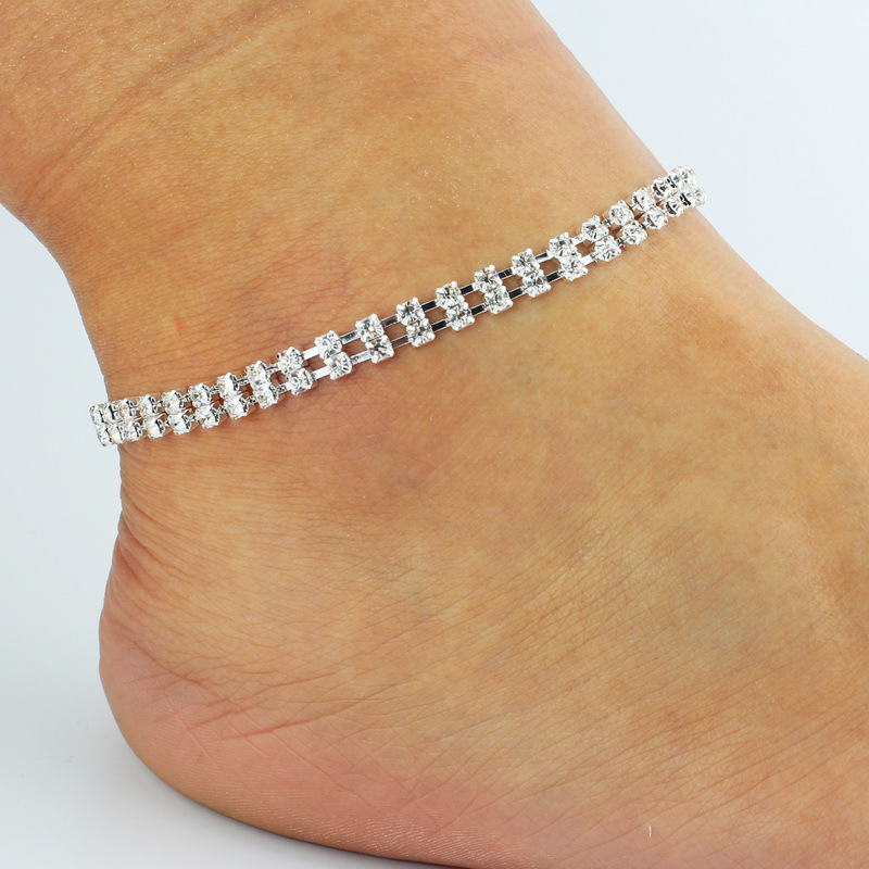 2017 new Anklet White Color Crystal Decoration Foot Chain Jewelry For Women Girls