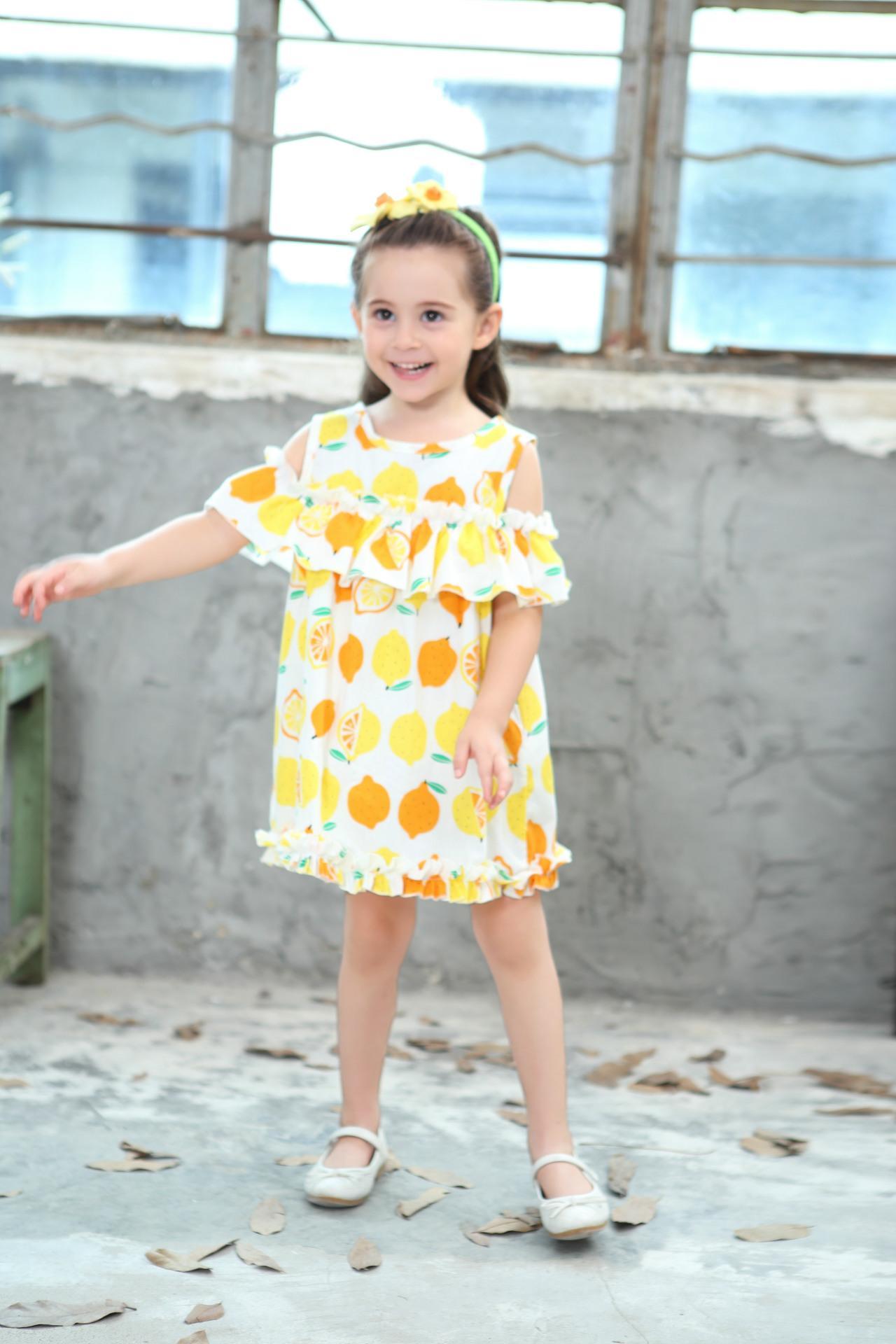 Lemon Printd Girls Dress 2018 New Summer Fashion Children Princess Dress Kids Children Clothes For 2 3 4 5 6 7 8 Years 3