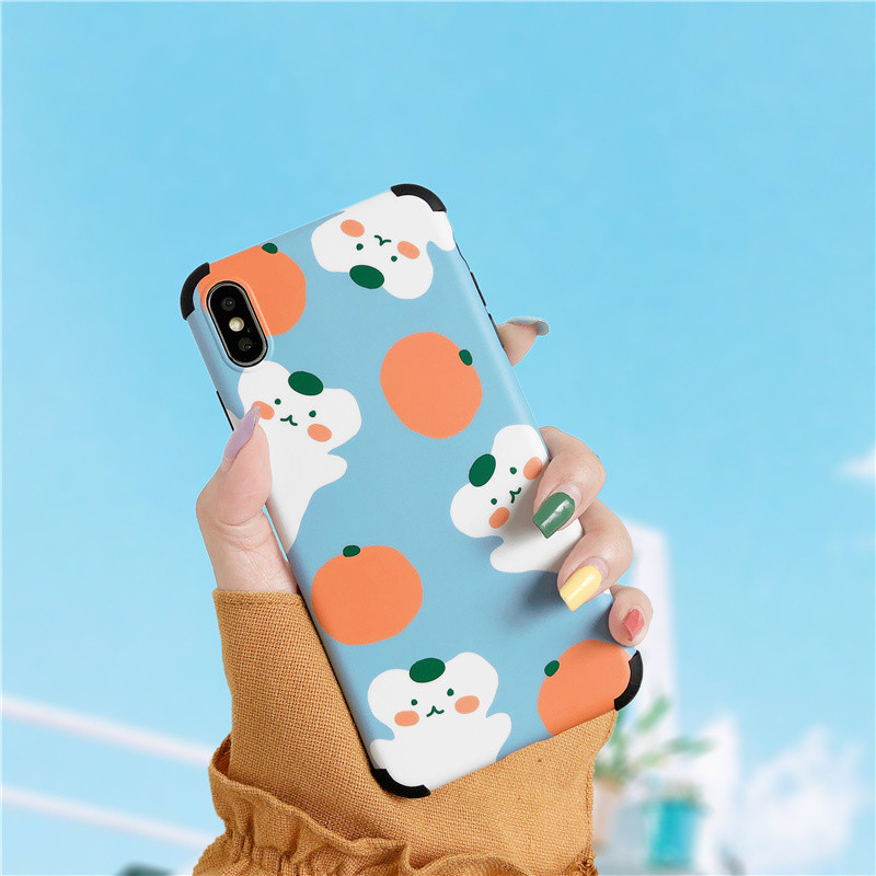 Cartoon bear orange Anti-knock phone Case for iphone XS Max X XR 6 6s 7 8 Plus Protective soft silicone case