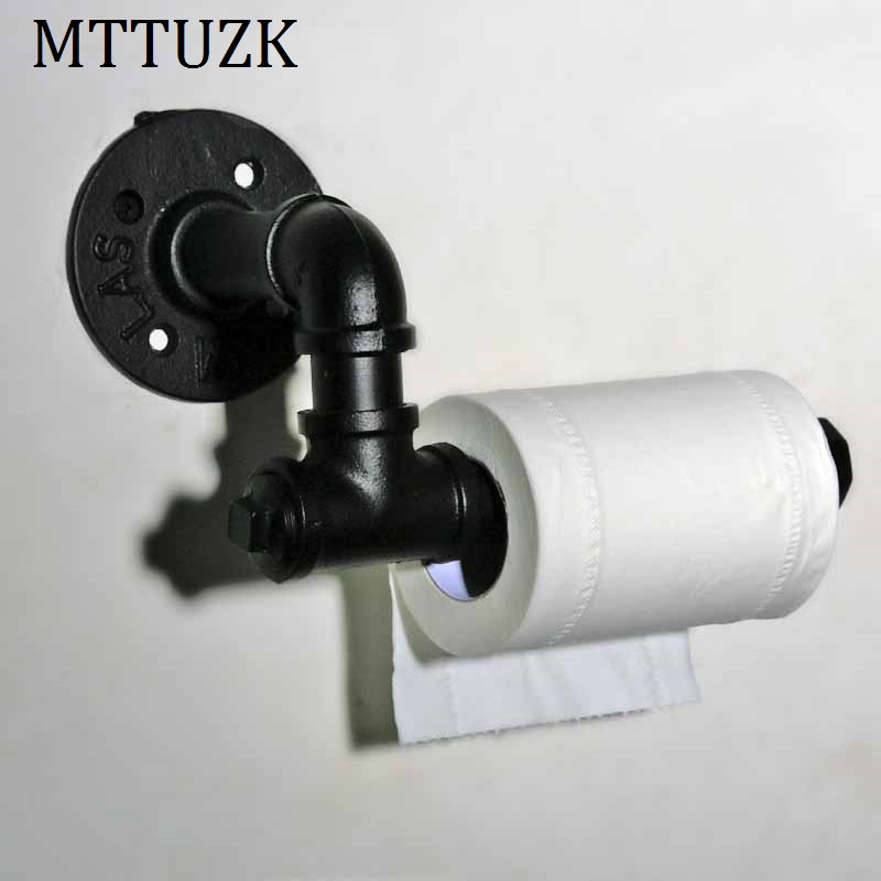 MTTUZK Creative toilet paper towel holder frame retro/oil bubbed bronze,black toilet roll holder paper holder Toilet accessories thai solid wood kitchen towel holder roll holder creative retro toilet paper towel holder roll holder lo5311141
