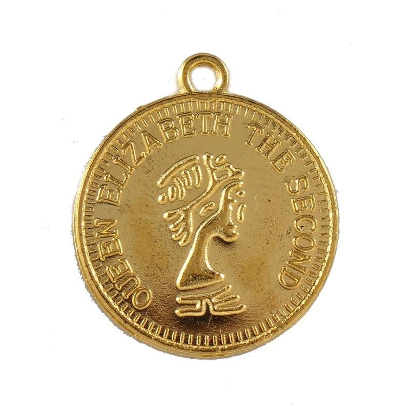 10 sztuk złoty kolor monety kolczyk spadek bransoletka z wisiorkiem złącza koralik urok DIY Handmade kolczyki do uszu naszyjnik Choker biżuteria znalezienie