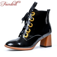 FACNDINLL 2019 new arrival comfortable autumn winter women ankle boots shoes sexy square high heels punk black riding boots 40 недорого