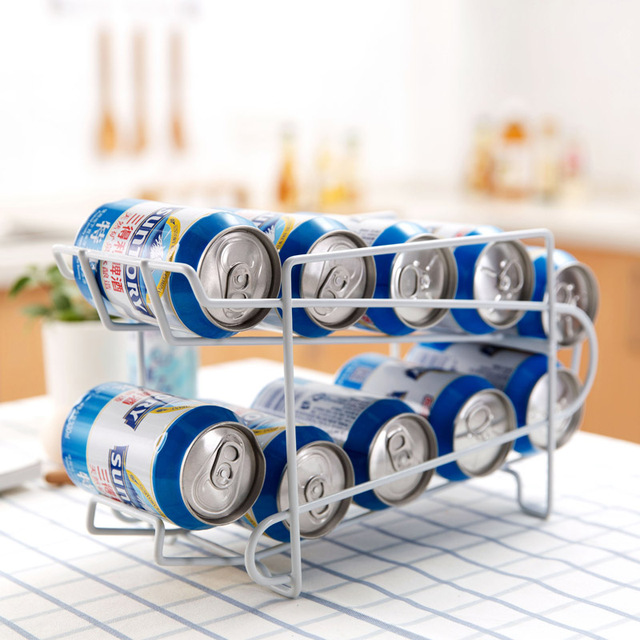Fridge Can Tank Rolling Storage Shelf Double Layer Finisher Kitchen Iron  Desktop Shelf Drink Rack