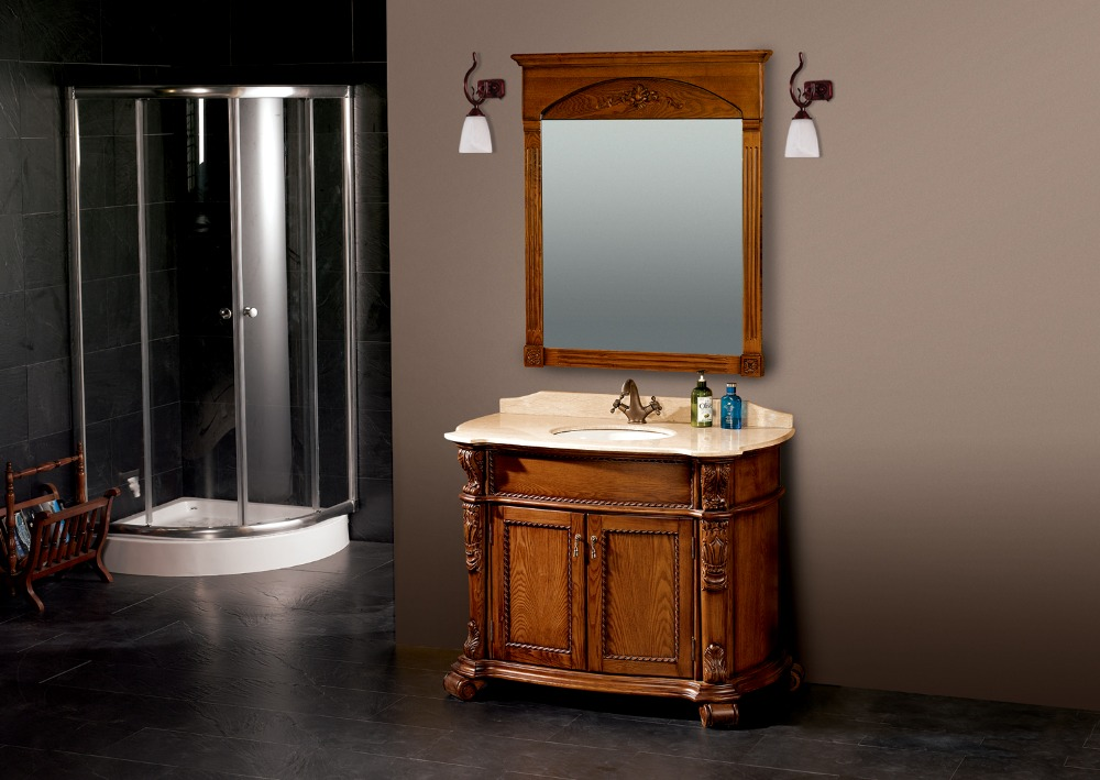 Best Wooden Cabinet Bathroom Free Standing Vanities Deep Bown Color Solid Oak Wood Cabinet In