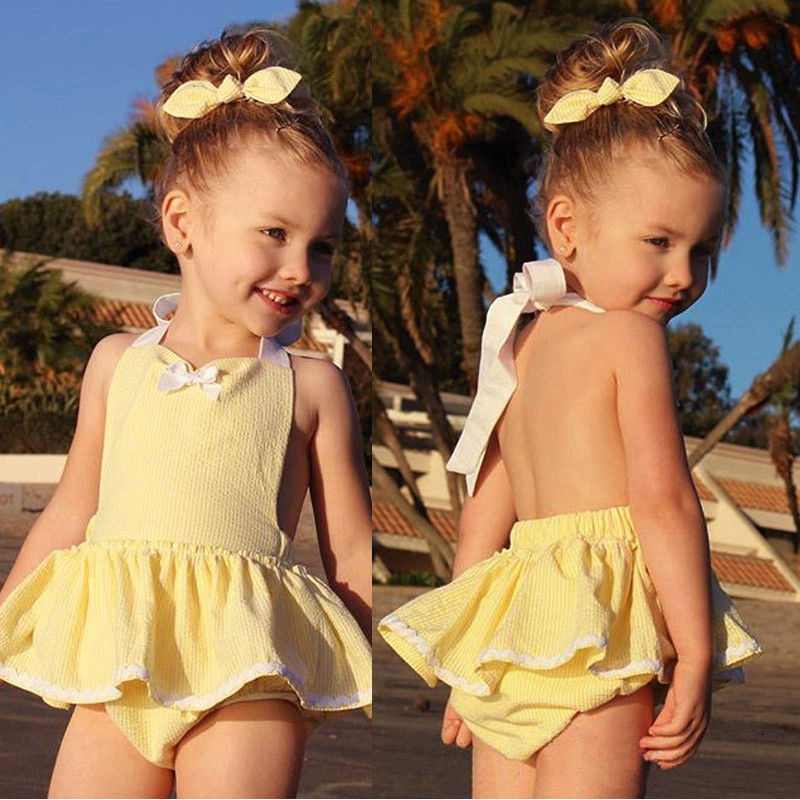 Baby Girl Infant Toddler Jumper Romper Dress Backless High Quality Yellow Jumpsuit Outfit Cute Headband Summer newborn infant baby girl clothes strap lace floral romper jumpsuit outfit summer cotton backless one pieces outfit baby onesie