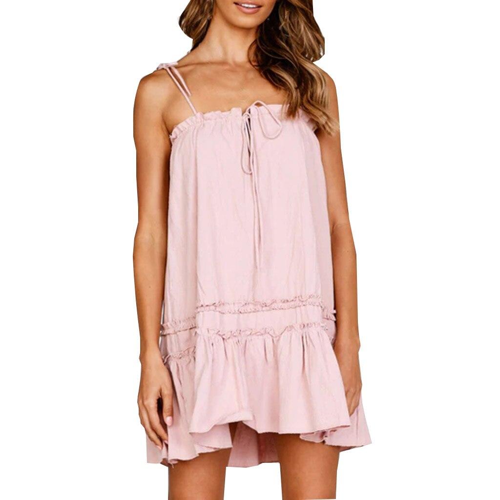 Women Casual Dress Summer Sleeveless Frill Detail