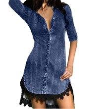 Женское джинсовое сексуальное джинсовое платье с v-образным вырезом, Длинные рубашки, мини-платье