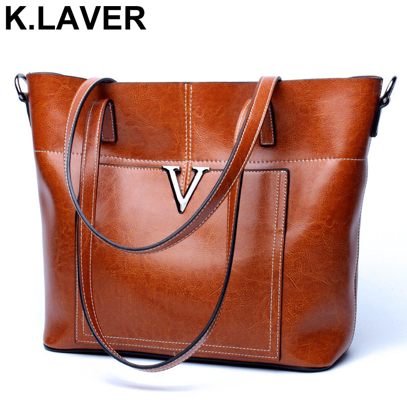 K.LAVER Shoulder Handbags Women Vintage Bag High Quality Portable Office Ladies Bags Genuine Leather Large Capacity Casual Tote [whorse] brand high quality women genuine leather shoulder bags cowhide ladies casual tote bag large capacity wa5054 7