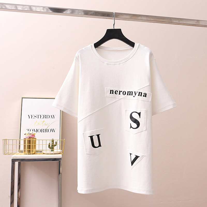 2019 New Fashion Designer Women T shirt Letter Printing Loose Round Neck Pullovers Short sleeved T shirts Tops Summer Female in T Shirts from Women 39 s Clothing