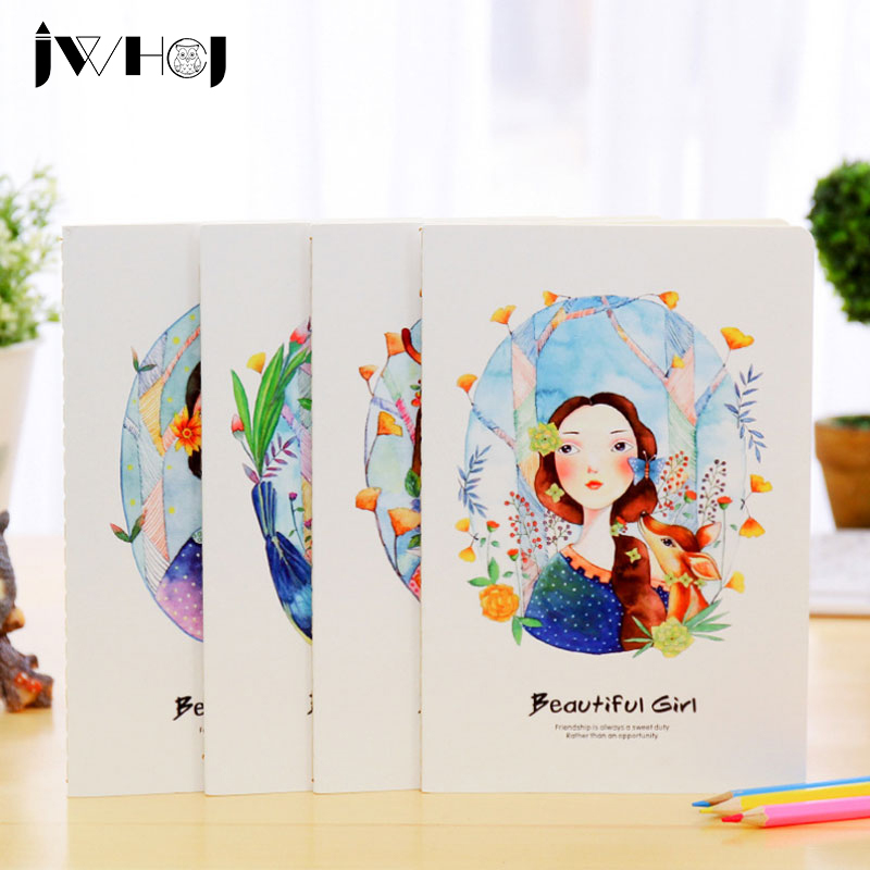 1 Pcs Cute Beautiful Girl A5 Notebook Diary Cash Book Notepad Memo Kawaii Stationery School Supplies Childs Gifts