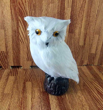 Simulation white owl polyethylene&furs owl model funny gift about 19cmx15cm