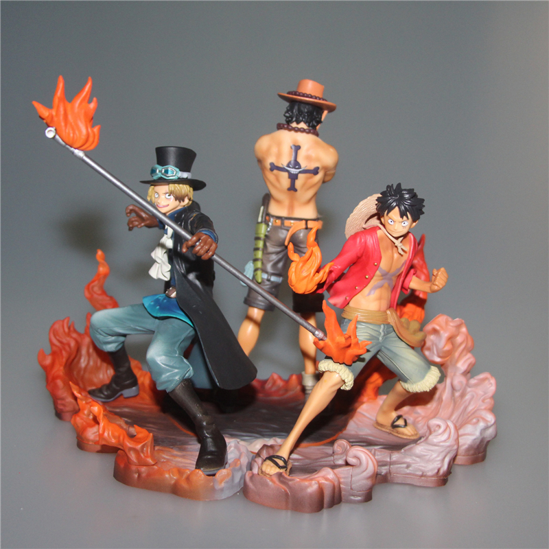 Tobyfancy Anime One Piece Action Figure Three Brother DXF Sabo Luffy Ace PVC Onepiece Collection Model Toy anime one piece dracula mihawk model garage kit pvc action figure classic collection toy doll
