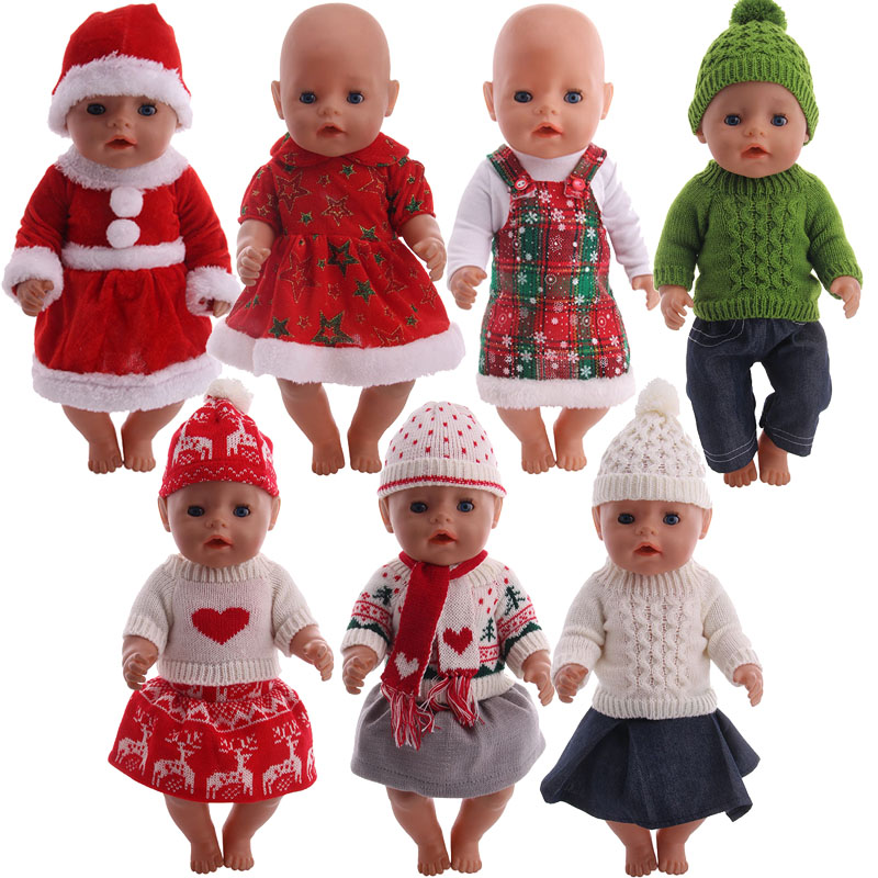 Doll Sweater Clothes Christmas Set Fit 18 Inch American &43 Cm Born Baby Doll Generation Christmas Birthday Girl's Gift