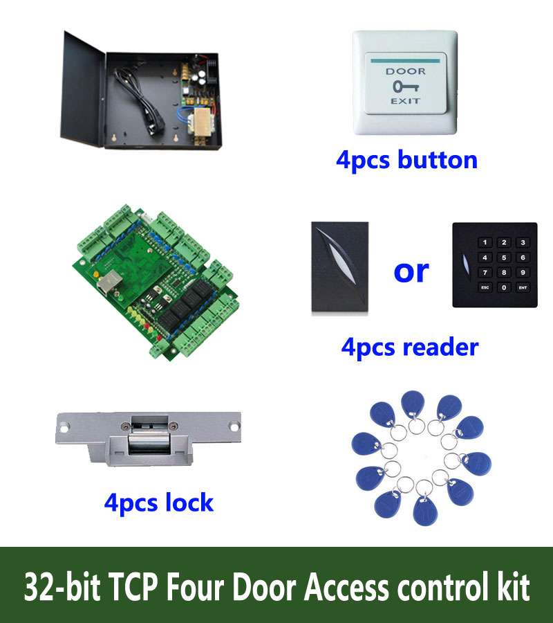 RFID 32-bit access control kit,TCP/ip four door access control+powercase+strike lock +ID reader+exit button+10 ID tags,:kit-T401 biometric fingerprint access controller tcp ip fingerprint door access control reader