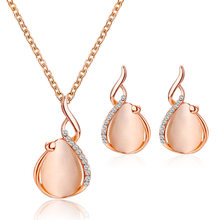 x148 New Fashion Crystal Golden Jewelry Sets For Women Opal Waterdrop Pendant Necklace Earrings Set ethiopian Jewellery 2019(China)