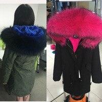 hot selling 2017 new women winter warm jacket black army green parkas coat with real raccoon fur trim hoody fur lining outwear
