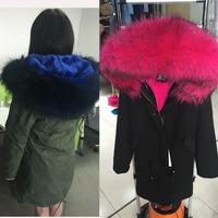 hot selling 2018 new women winter warm jacket black army green parkas coat with real raccoon fur trim hoody fur lining outwear