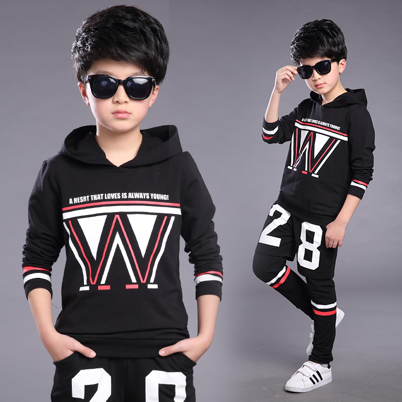 FYH Boys Clothing Teenagers Spring Autumn Sets School Boys Casual Suit Hooded Pullover+ Pants Sports Suit Sets Long Sleeve 2pcs fyh boys long sleeve sports set school boys casual printed suit hooded sweatshirt pants kids autumn clothes children tracksuit