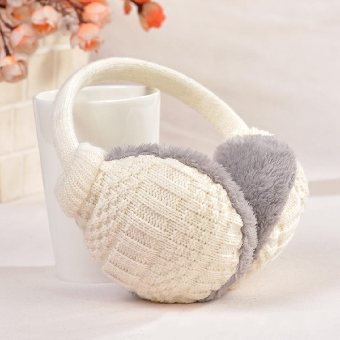 Ear Cover Women Winter Warm Plush Knitted Cotton Earmuffs Fashion Girls Plush Earlap Warmer Headband Accessories