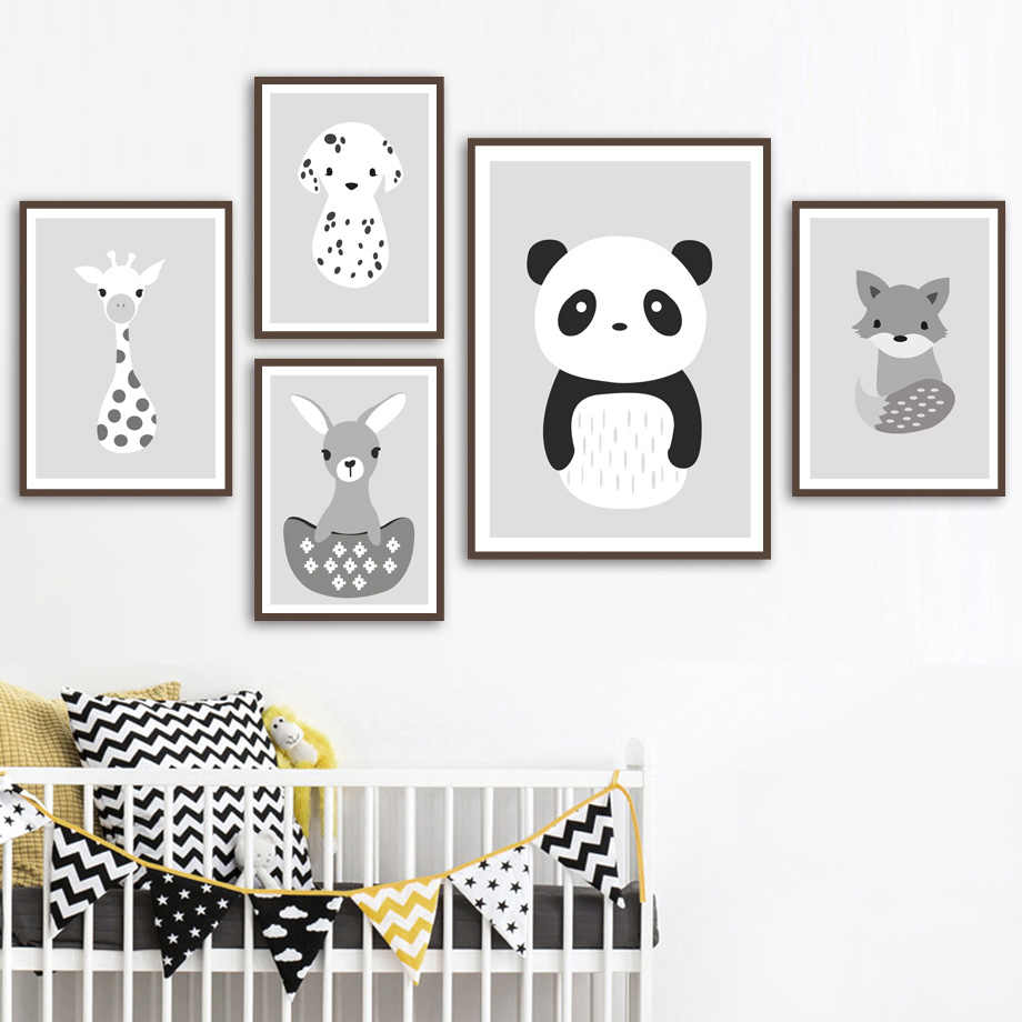 Panda Rabbit Giraffe Dog Fox Wall Art Canvas Painting Nordic Posters And Prints Animals Wall Pictures Baby Kids Room Child Decor