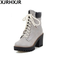 XJRHXJR Fashion Spring Autumn Platform Ankle Boots Women Lace Up Thick Heel Martin Boots Ladies Worker