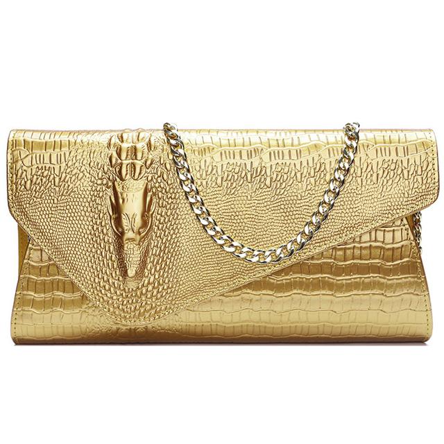 Designer Brand Women Genuine Leather Day Clutch Bag Alligator Top Leather Bag for Ladies Messenger Bags Women Shoulder Bag
