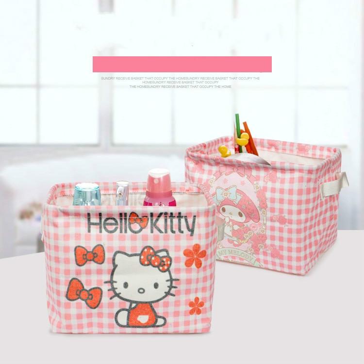 Hello Kitty Melody Cloth Desktop Storage Box Cosmetics Storage Box Organizador Makeup Organizer Storage Box