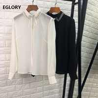 100% Silk Bluse Shirt 2019 Frühling Sommer Elegante Blusen Frauen Perlen drehen unten Kragen Langarm Weiß Schwarz Sexy hemd