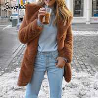 Simplee Elegant shaggy women brown faux fur coat Autumn winter warm plush teddy coat Female oversize party outwear 2018