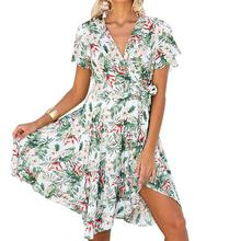 Yfashion Floral Belt Bandage Summer Dress Beach Style Deep V Stylish Neck Leaf Printing Dresses Ladies Fashion Casual