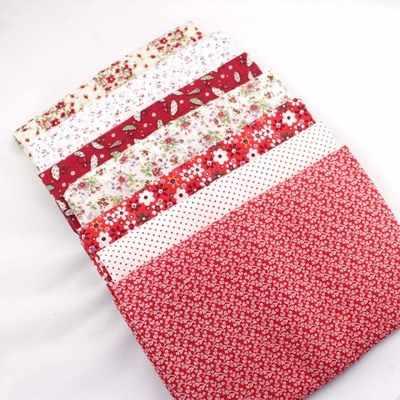7 قطعة جديد أحمر 100% نسيج خليط القطن ل DIY الخياطة نسيج اللحف الاطفال الفراش المنسوجات تيلدا دمية قماش 50*50 سنتيمتر