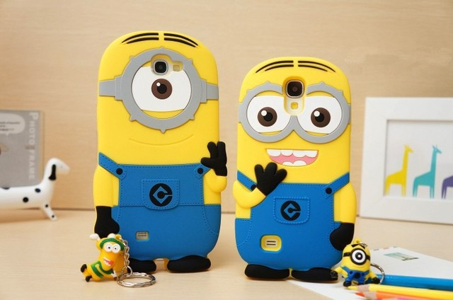 Free shipping Cartoon Despicable Me Soft Case for Samsung s4 9300 9500 7100Mix 5 designs STOCK Popular Cellphone Cases Minions