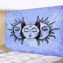 Light Blue Sun Moon Tapestry Psychedelic Celestial Indian Hippie Hippy Wall Hanging Throw Bedspread