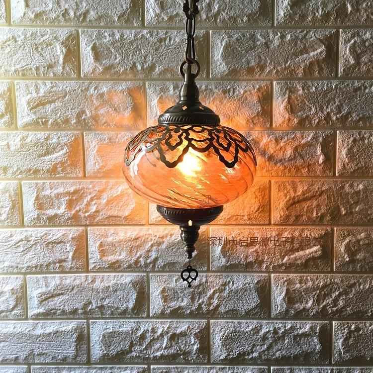Image 4 - Newest style Turkey ethnic customs Hollow carving lamp Romantic cafe restaurant bar tree pendant light Streamline glass lighting-in Pendant Lights from Lights & Lighting