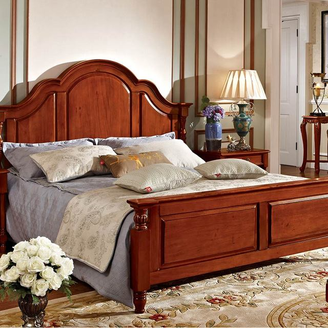 2018 Solid Wood Furniture Antique Wood Bed 1.8 Meters Classical luxury  royal bedroom furniture set - 2018 Solid Wood Furniture Antique Wood Bed 1.8 Meters Classical
