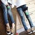 2017 primavera do sexo feminino criança calça jeans calças criança boneca padrão calça jeans meninas