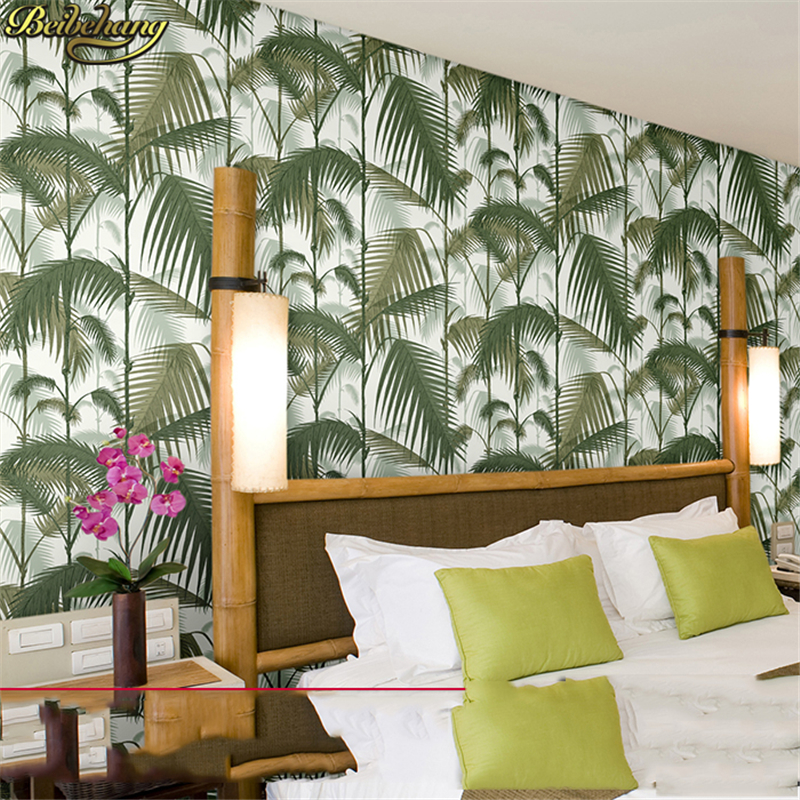 beibehang Tropical rainforest palm leaf green forest natural forest non woven plant flower wallpaper scroll papel