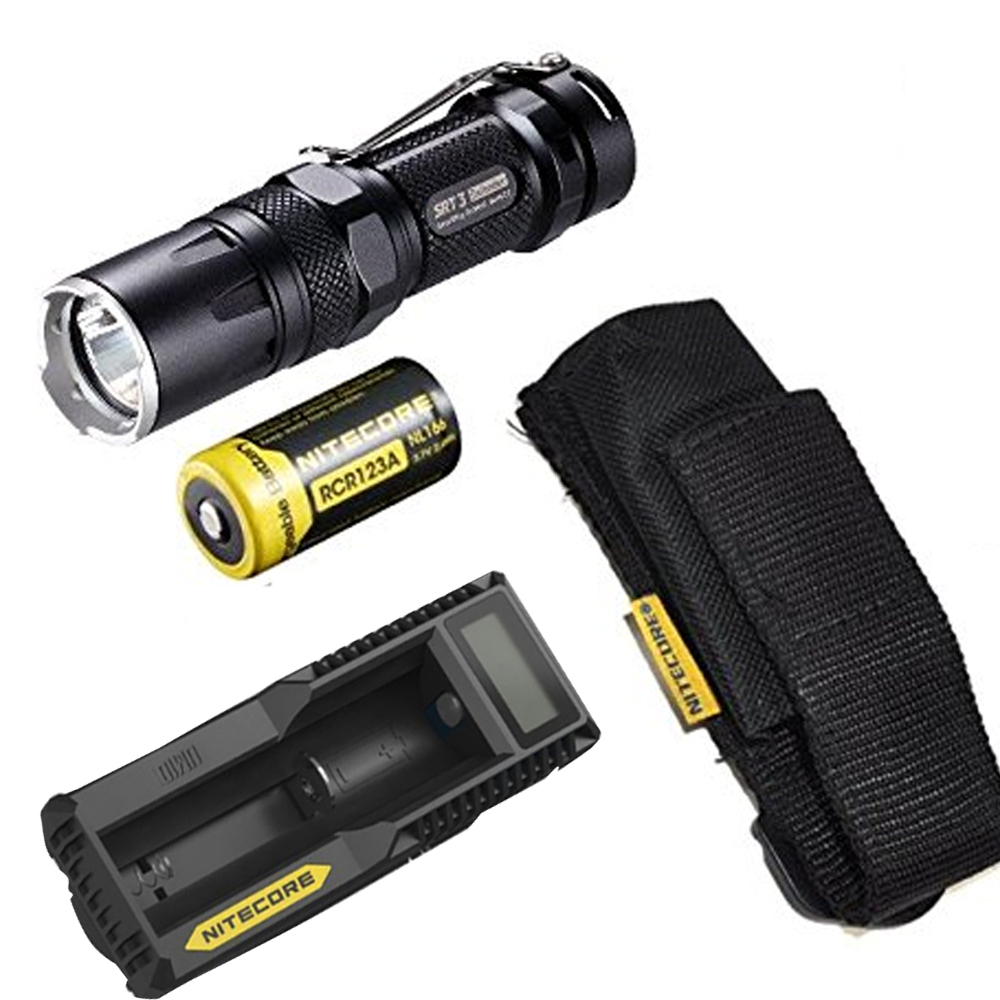 NITECORE SRT3 550 Lumen CREE XM-L2 T6 LED Tactical Flashlight Aluminum Alloy Waterproof Torch Hiking Bicycle + battery + charger boruit 18 xm l2 powerful led flashlight 5 mode portable tactical flash light waterproof aluminum camping hunting torch lanterna
