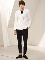 2017 Latest Coat Pant Designs Ivory Double Breasted Men Suit Casual Slim Fit Custom Simple Prom Men Tuxedo 2 Piece Masculino Y
