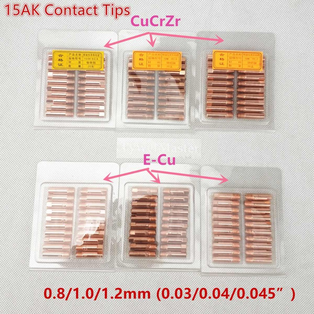 15AK Contact Tip CuCrZr MIG Torch/Gun Consumables 0.6 0.8 0.9 1.0 1.2mm M6x25mm 20pcs Welding Tips For MIG MAG Welding Torch