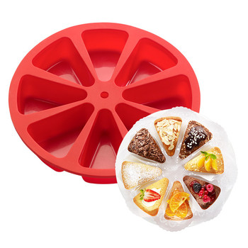 Creative DIY 8 Cavity Silicone Mold Pastry Cake Slice Dessert Pizza Pudding Soap Molds Microwave Kitchen Bakeware Tool Random silicone for cake