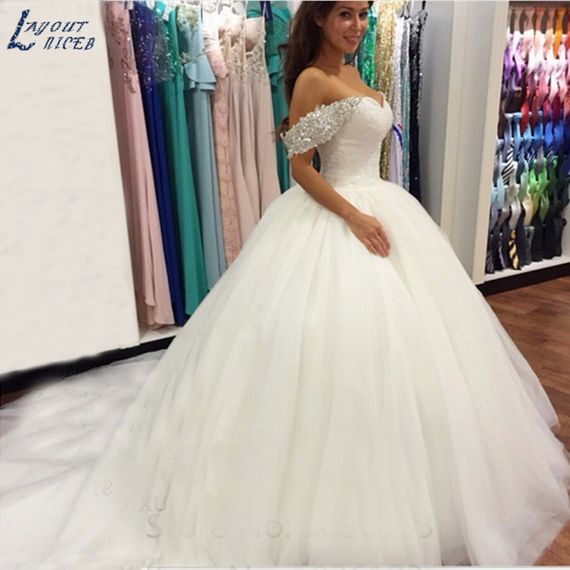 WD0304 New Beads Crystal Sweetheart Lace White Wedding Dress for Brides Bridal Ball Gown Off Shoulder-in Wedding Dresses from Weddings & Events    1