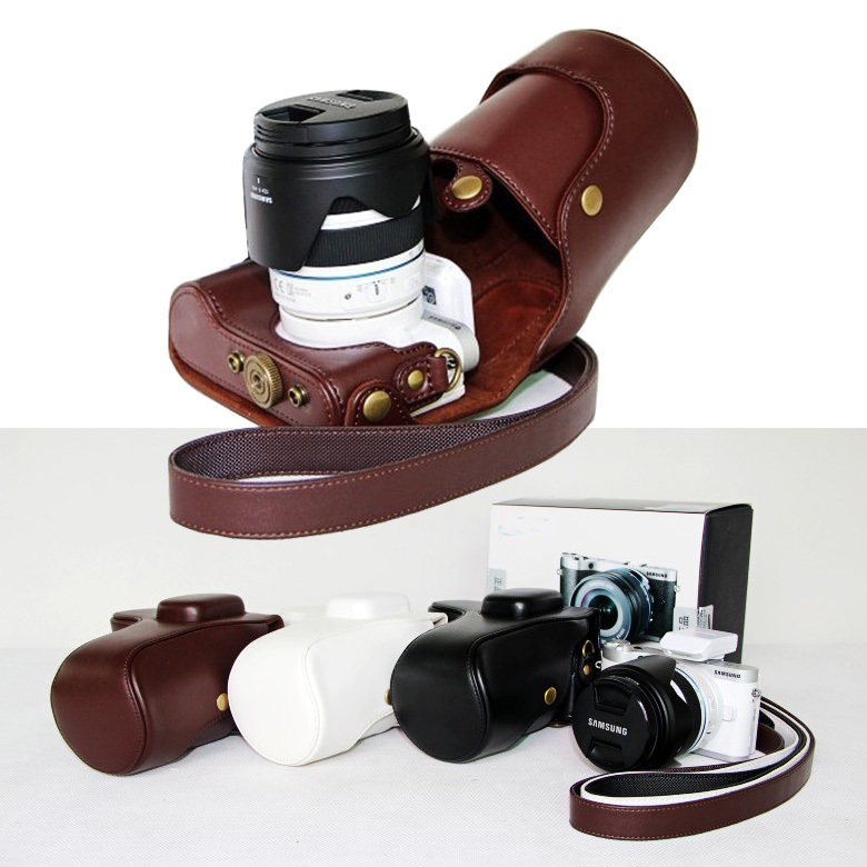 Vintage Pu Leather Camera Bag for Samsung NX300 NX-300 Camera Cover With Shoulder Strap coffee white black