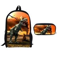 2 pcs/set Dinosaur pattern Animal World Schoolbag Jurassic Dinosaur Kids Backpack Children Gift For Boys Travel BookBag 44CM