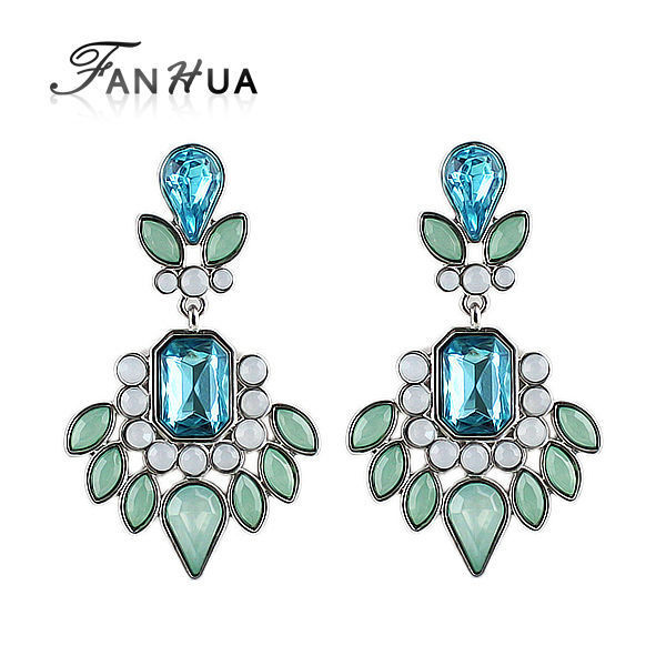Fanhua verão estilo cor prata com cristal azul grande flor brincos pendurados para as mulheres