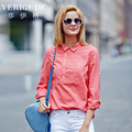 Veri Gude Women Blouses Asymmetrical Half Front Shirt Loose Fit Cotton Ramie Material