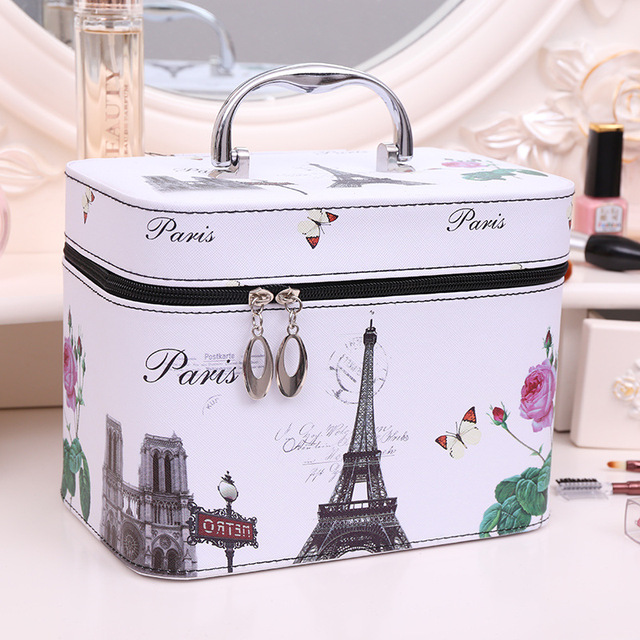 de25ff3b17ef US $27.48 |PU Leather Cute Pattern Cosmetic Case Travel Portable Large  Capacity Storage Beauty Box Skin Care Package Organizer Makeup Bag-in  Cosmetic ...