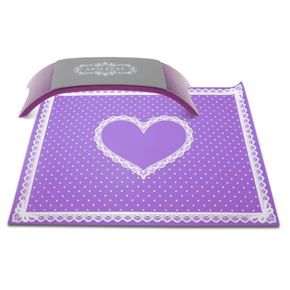 Soft Hand Pillow Cushion with Foldable Pad Mat with Lace and Polka Dot Heart Salon Equipment for Manicure Nail Beauty Hand Rest polka dot table pad