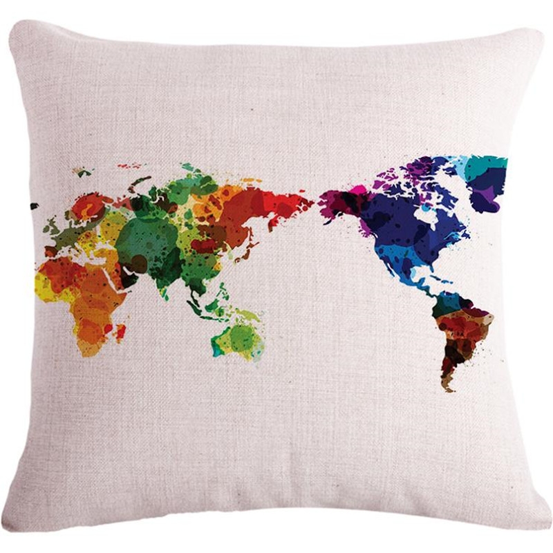 Decorative throw pillows case World Map Custom Cushion Covers Resource Distribution Sofa ...
