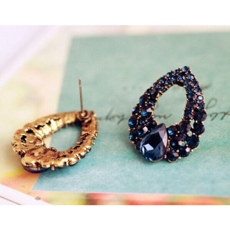Klassische Blaue Strass Luxus Ohrring Frauen Kleid Party - Modeschmuck - Foto 6